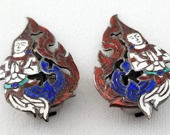 Beautiful Vintage Siam Sterling Enamel Nielloware SIAM Dancer Snap Clip On Earrings