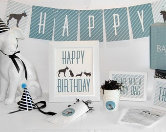 Boy Dog Party In A Box  Adoption or Birthday Party