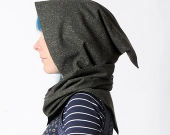 Dark hooded scarf, Dark green and black hooded cowl, Pixie cowl with removable hood, Steampunk cowl, Wizard scarf, MALAM hooded scarf