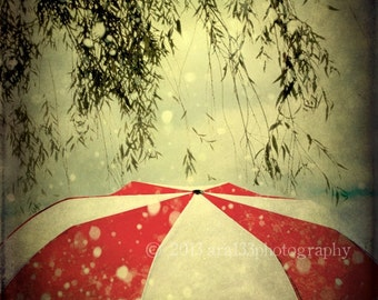 Abstract Rain Photo, Red and White Photograph, Umbrella, Grey, Black, Branches, Cloudy, Rainy, 8x10 inch Fine Art Print