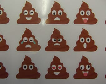 emoji poo stickers  9 per set.  waterproof..