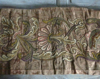 Antique French Silk Brocade Silver Gold  metallic tread embroidery needlework