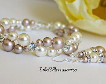 Wedding Bracelet and Earring Set, Bridal Jewelry, Ivory Champagne Bracelet, Bridal Cuff Bracelet, Two Strand Bracelet, Multistrand Bracelet