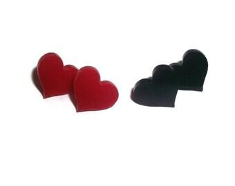 Black or Red Heart Stud Earrings, Cute Earrings, Kawaii Laser Cut