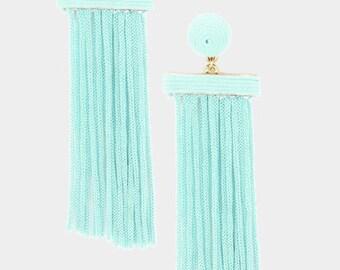 Thread Dome Tassel Earrings Mint