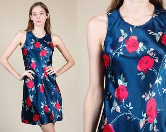 90s Shiny Floral Dress - Small // Vintage Blue Grunge Tank Mini Dress