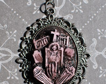 Rockabilly Psychobilly Pendant  Necklace  - Creepy Cute Gothic Necklace  -  Putrid Pink