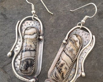 "Sterling silver and silver lace onyx earrings.  ""rain dance"""