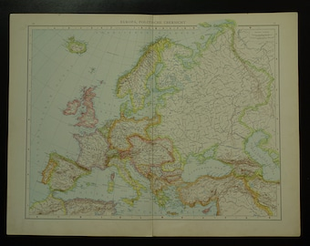 EUROPE old map LARGE original antique history map of European