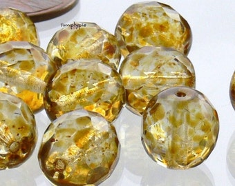 10mm Fire Polished Amber Picasso Czech Glass Beads 12