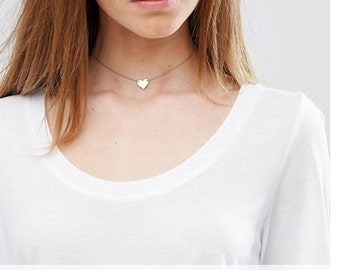 Dainty Choker Heart Necklace, Personalized Necklace (or blank) / 14k Gold Fill, Sterling Silver or Rose Gold Filled