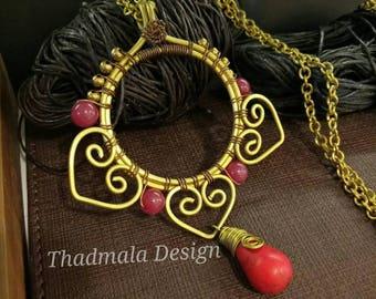 Brass wire with stone necklce