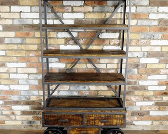 Industrial Trolley Shelf - Handmade from Reclaimed Wood and Metal