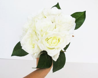 White Silk Roses Bouquet Artificial Silk Flowers Bouquets 7 blossoms Green Leaves Flower Wedding Bouquets Home Party Decoration Decor