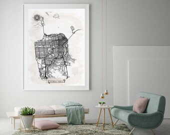 SAN FRANCISCO California Watercolor Map Art Black Ink and Light Watercolor CA Vintage City Map Large Size Graphic Drawn Wall Art Canvas Map