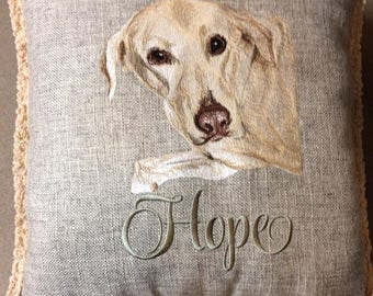 Two Sided Custom Embroidered Pet Portrait. One pet with name on front and phrase on back side
