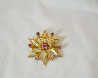 Gold Tone and Pink Crystal Brooch/Pendant