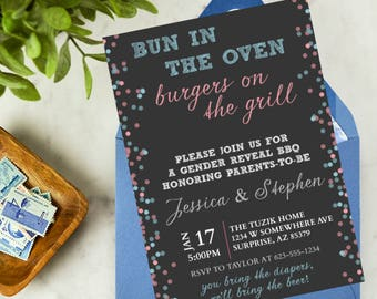 Bun in the Oven, Burgers on the Grill * Baby Shower * Gender Reveal * DIY * Printable * Digital