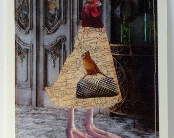 Friendship Card, Card, Chicken, Friendship, Chicken Greeting Card, Shopping, Chicken Art, Chicken Collage, Card, Hen, Hen Card, Collage