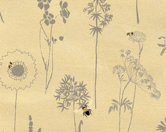 Studio E Save Our Bees - DT-K Signature - Yellow Flower Outlines - Quilting Fabric by the Yard - Bee Fabric - Insect Fabric - Dandelion