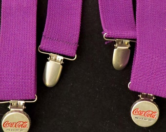 "Sale! Rare Purple COCA COLA SUSPENDERS w ""Bottle Cap"" Clasps & Elastic Straps from the 1980's / Awesome Christmas or Birthday Gift!"