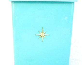 Mid Century Modern Turquoise Metal Mailbox   Starburst Emblem   Atomic Era Wall Mount Letter Box