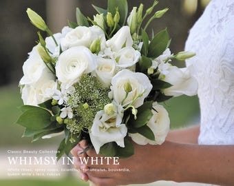 Simple White Wedding flowers, Bouquet, Whimsical Wedding Flowers, White Wedding, White and green centerpieces