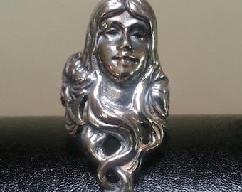 Sterling silver art nouveau goddess steampunk gothic victorian boho gypsy hippy long ring