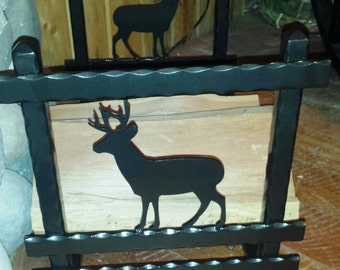 Wrought Iron Firewood Rack Log Holder w/Buck, Elk, Bear, Moose, Buffalo, Golden Retriever Silhouettes (or Other Silhouette of Your Choice)