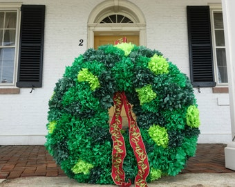 PuffScape WREATH GIANT Holiday Green Shades Entrance Decor Tree Alternative Tissue Paper Flower Christmas December Wedding Place Card Holder