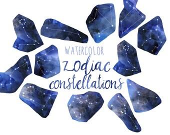 Watercolor Zodiac Clipart, Constellation Clipart Metaphysical clipart, Celestial Clip Art, Astrology Clipart, Horoscopes Illustration