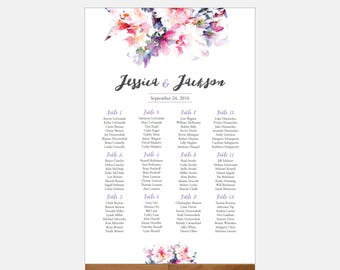 Large Seating Chart Sign DIY, Digital File, Wedding Seating Chart, Watercolor Flower, Floral, Printable PDF, Personalized - Jessica