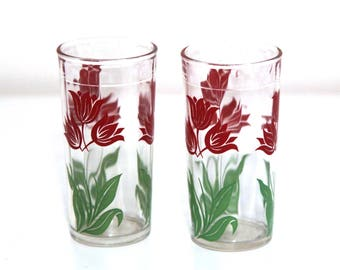 Vintage Hazel atlas tulip glasses set of 2 50s 60s