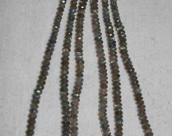 Labradorite, 6-11 mm, AAA, Labradorite Rondelle, Faceted Rondelle, Graduated Strand, Blue Flash, Semi Precious, HALF Strand, AdrianasBeads