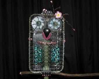 Yard Art Owl ~ Embellished Vintage Glass Luncheon Snack Plate ~ Flower Garden Statue ~ Figurine