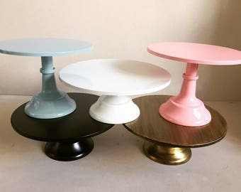 "Gold 12"" metal cake stand ONE stand TWO heights"