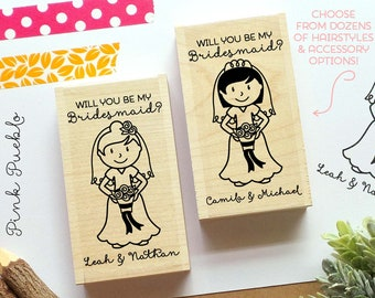Personalized Wedding Stamp, Bridesmaid Proposal Card or Label Stamp - Choose Hairstyle and Accessories