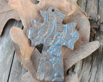 Pottery Cross PENDANT Bead in Blue Grotto