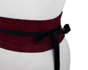 Burgundy Silk Obi Belt Corset Belt / Waist Cincher / Reversible Corset / Dark Red Sash / Plus Size Corset Belt / Dupioni