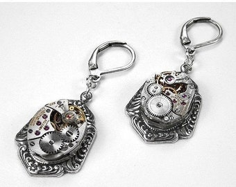 Steampunk Jewelry Earrings Silver Victorian Jewel Watch Wedding Bridal, Girlfriend Dangle Earrings, Drop Earrings - Jewelry by edmdesigns