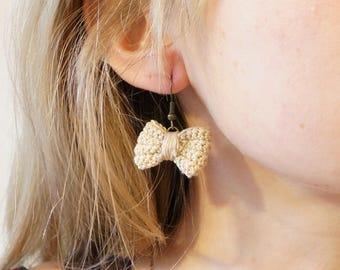 Fine crochet bow earrings