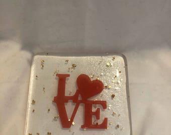 Fused glass love coaster
