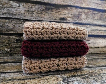 Crochet Washcloth Set - Cotton Washcloth - Eco-Friendly - Face Towel - Hand Towel- Knit Washcloth - Washcloth Set - 100% Cotton