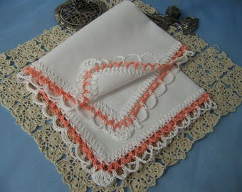 Lace Handkerchief, Lace Hanky, Lace Hankie, Hand Crochet, Ladies, Custom Embroidered, Salmon, Peach, Ready to ship