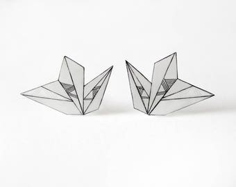 Geometric stud earrings, black and white unique hand drawn shrink plastic post earrings, jewelry
