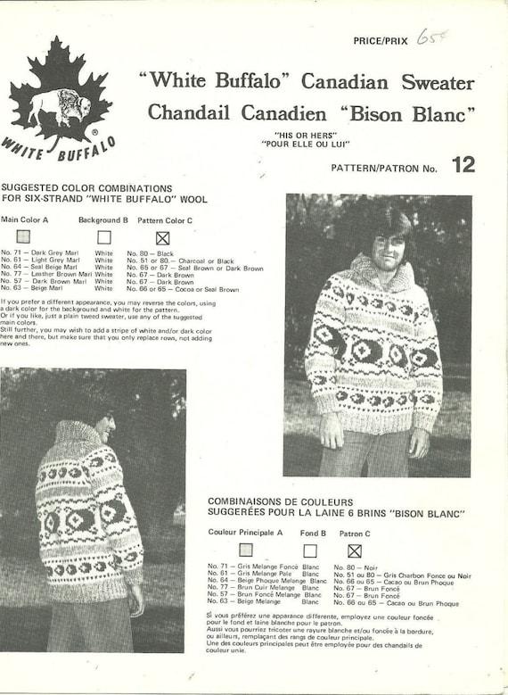 White Buffalo Knitting Pattern Cowichan Siwash Adult Sweater
