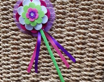 Flower Girl Wand - Flower Fairy Magic Wand -  purple centre