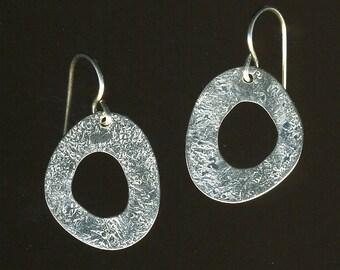 small donut sterling silver hoop dangle earrings