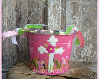 Easter Bucket, Personalized, Hand-Painted, Tin, Pail, Easter Pail, Religious Easter Bucket, Resurrection, Cross Easter Bucket, Painted Pail