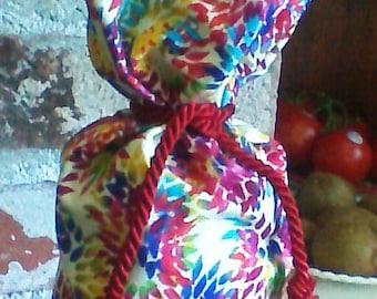 Rainbow, Burst of Colors, Handmade Reuseable Cotton Bottle Gift Bag